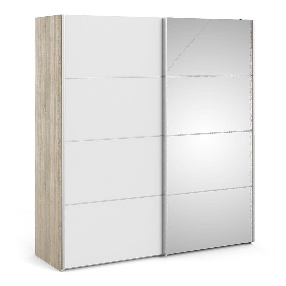 Valerian Sliding Wardrobe 180cm in Oak with White and Mirror Doors with 2 Shelves